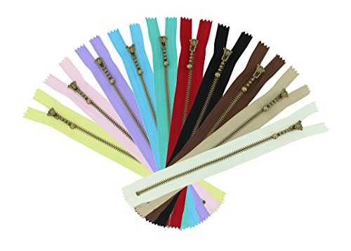 Find Discount NIPOO 20cm 3# Assorted Color Nylon Coil Bronze Zippers 10 Pcs