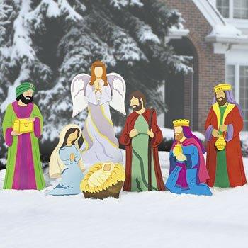 Nativity scene yard stakes christmas wikii for Baby jesus lawn decoration