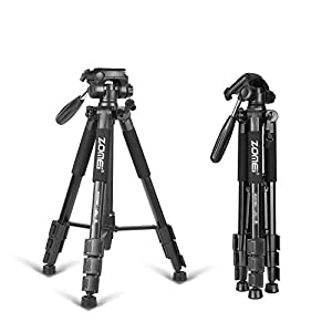 "ZOMEI 64.5"" Magnesium Aluminum Travel Tripod with Ball Head and Carrying Bag for Canon Nikon Sony Cameras"