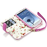 Samsung i9300 Galaxy S3 Premium PU Leather Wallet Case with Floral Interior (Pink)