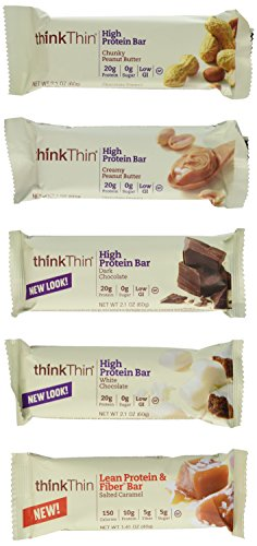 Think Thin Variety Pack 10 Mix Bars 2.1oz ea: 2 bars of White Chocolate, 2 bars of Salted Caramel, 2 bars of Chunky Peanut Butter, 2 bars of Dark Chocolate, 2 bars of Creamy Peanut Butter (Think Thin Bars Caramel compare prices)