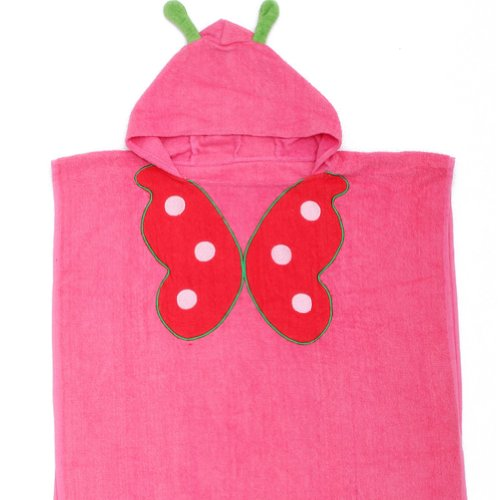 Deer Mum Baby'S Cartoon Hooded Bath Towel Cotton Terry Toddler Kid Animal Bathrobe (Red Butterfly) front-234392
