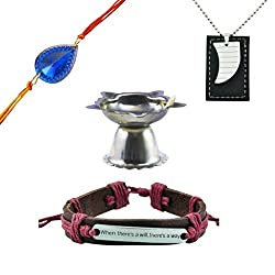 Alpha Man Blue Drop Of Intelligence Rakhi For Brothers, Combo of Leather Bracelet, Dog Tag, Rakhi and Diya