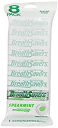 BREATH SAVERS Mints in Spearmint Flavor, 8-Roll Pack (6 Ounces, Pack of 5)