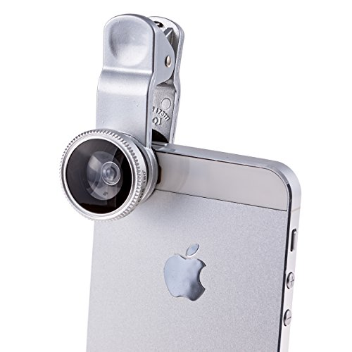 PTDC 3 in 1 Smart Phone Lens Kit for iPhone, Samsung Galaxy, HTC, Motorola, iPad | Includes a Fish Eye Lens, Macro Lens and Wide Angle Lens with Lens Caps. One Microfiber Carrying Bag Included (Olloclip Samsung Galaxy S5 Mini compare prices)