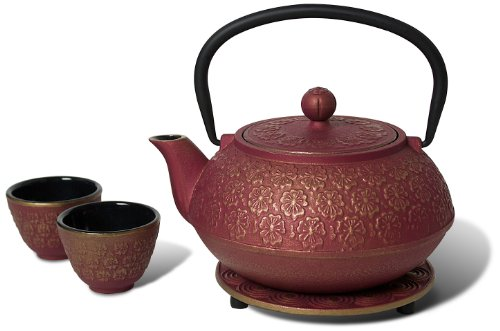 New Miya Scarlet Blossom 34-Ounce Cast Iron Teapot and Teacup Set w/ Strainer and Trivet, Pink