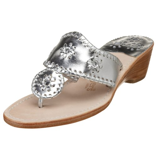 Jack Rogers Women's Hamptons Midwedge Sandal Sandal,Silver,7.5 M