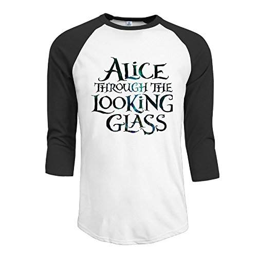 HOTOU Men's Alice Through The Looking Glass Baseball 3/4 Sleeve T Shirts Black