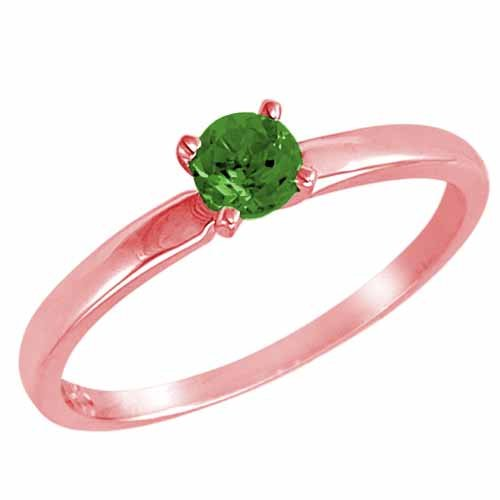 DivaDiamonds 10ct Rose Gold Round Solitaire Emerald Ring (0.45 ctw) - Size L 1/2