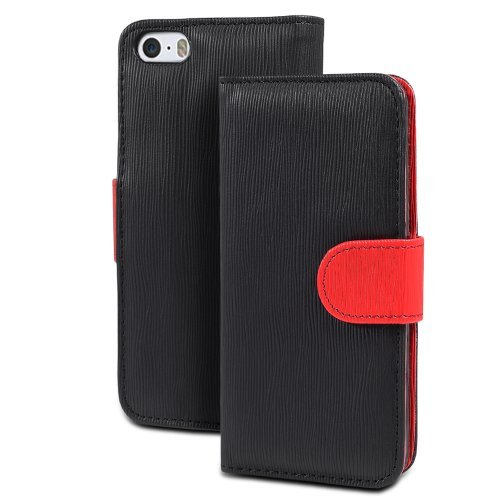 GreatShield LOLLY Series Toothpick Grain Pattern Design Wallet Flip Leather Case Cover (Stand Function) with Card/Cash Pocket Slot for Apple iPhone 5 / 5S (Black/Red)