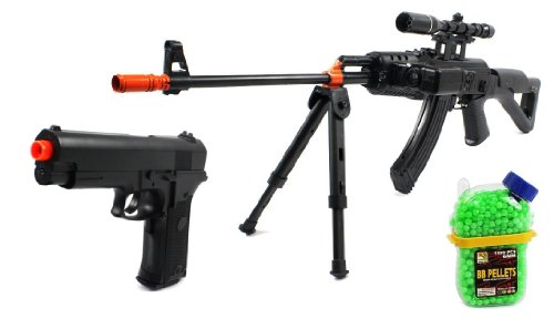 (Combo) Military Ak-47 Spring Airsoft Gun Bipod Fps-230 + Special Ops Electric Blowback Airsoft Pistol Full Auto Fps-180 + 1000 Bb'S Clip-On Holster Container