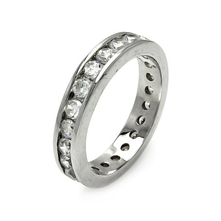 Classy Round Cut Cubic Zirconia Diamond Color Eternity Ring, Includes Gift Box and Pouch. (9)