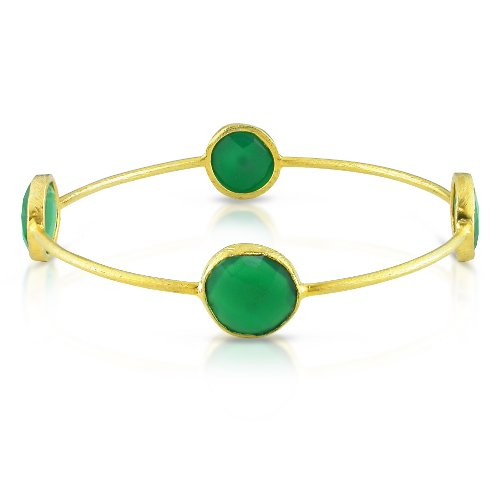 22k Yellow Gold Plated Silver 16ct TGW Green Onyx Bangle (7in)