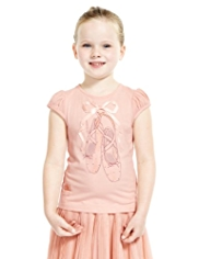 Royal Ballet Shoes Print T-Shirt with Modal