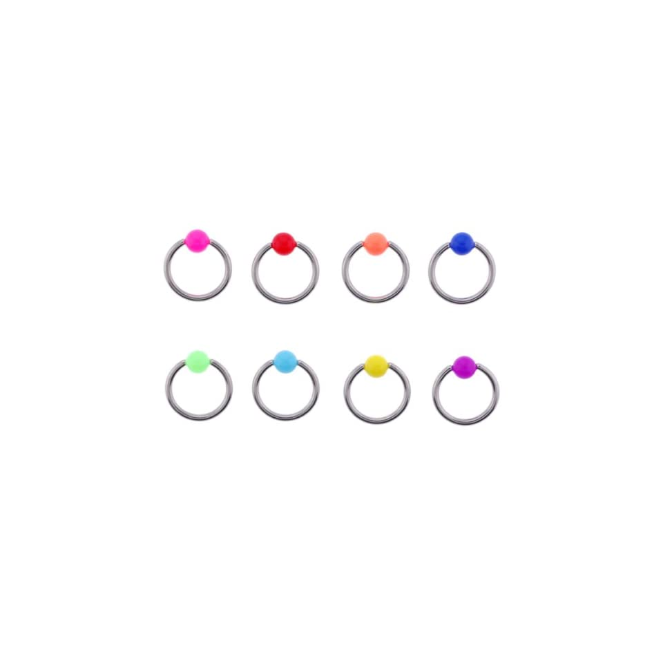 Multi Color Captive Bead Rings with 5mm Acrylic Balls   14G, 7/16 (11mm)   Sold as a Set of 6 Assorted Colors