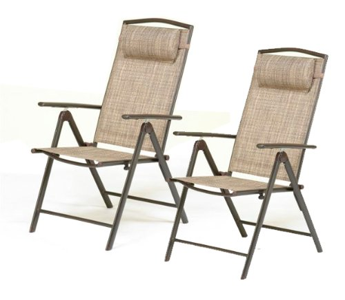 Monaco Tweed Garden Furniture Recliner Chair with Head Rest - PACK OF 2 (Price for 2 chairs)- UK Mainland Delivery ONLY