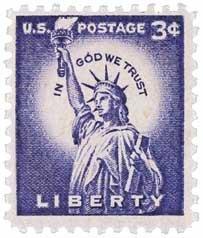 #1035 - 1954 3c Statue of Liberty U.S. Postage Stamp Plate Block (4)
