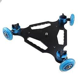 AGPtek 3 Wheel Tabletop Mobile Rolling Slider Dolly Car Skater Video Track Rail for DSLR Camera Vedio Photograph - Black & Blue