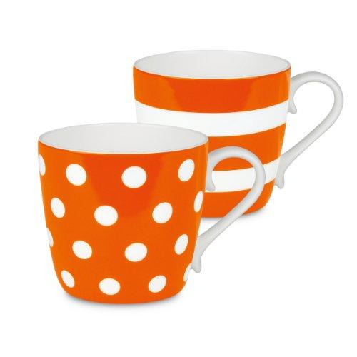 Konitz Orange Dots And Stripes Mugs, Set Of 2