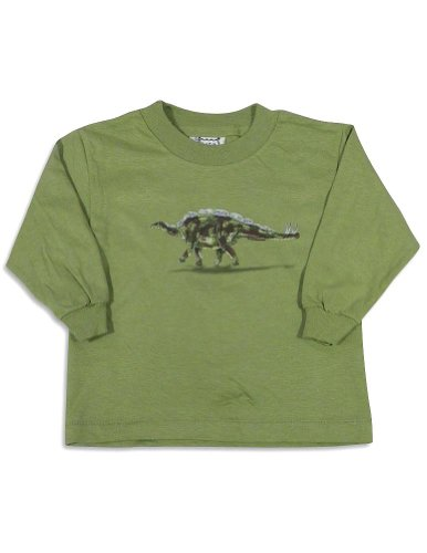 Mis Tee V-Us - Baby Boys Long Sleeve Dinosaur T-Shirt, Olive Green 27073-18Months front-661498