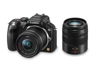 Panasonic Lumix DMC-G5WEG-K Systemkamera (16 Megapixel, 7,6 cm (3 Zoll) Touchscreen, Full-HD Video, bildstabilisiert) schwarz inkl. Lumix G Vario 14-42mm OIS und 45-150mm OIS Objektiven