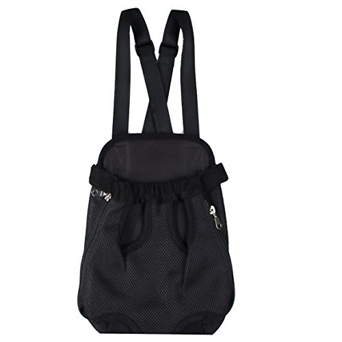 Vktech Trendy Nylon Mesh Pet Dog Cat Chest Carrier Bag Bosom Bag Backpack Knapsack (Black, M)