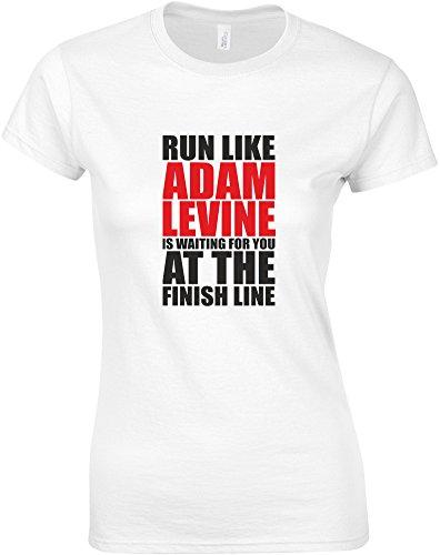 run-like-adam-levine-is-waiting-gedruckt-frauen-t-shirt-weiss-schwarz-rote-m-82-86cm