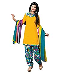Mayur Women's Cotton Unstitched Dress Material (162034224355_Yellow _Large)