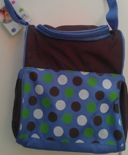 "Insulated Bottle Bag ""Poka Dot"" Blue and Brown."