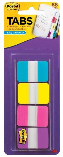 post-it-tabs-1-inch-solid-aqua-yellow-pink-violet-22-color-88-per-dispenser-686-aypv1in