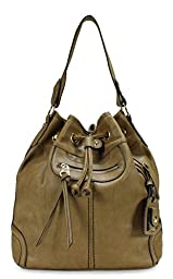 Scarleton Large Drawstring Handbag H107808 - Beige