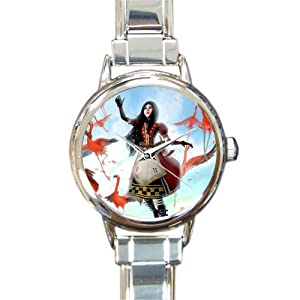Special Design Beaituful Pink Flamingos, Love Flamingos and A Girl Round Italian Charm Watch