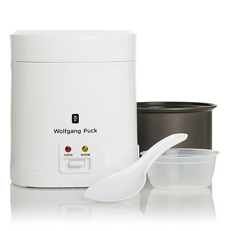 Wolfgang Puck White Portable 1.5-cup-dry, 3-cup-cooked Rice Cooker. It's the Good Meal Made Easy, and It Goes Well Beyond Just a Perfect Bowl of Rice. Walk Away - Run Errands or Perform Some Chores - and Return to Sticky Rice, Soothing Soup, Cheesy Macaroni and Cheese or a Scrumptious Dessert All Warm, Tender and Ready to Eat. (Mini Small Rice Cooker compare prices)