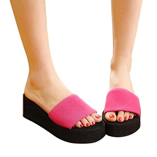 Voberry® Girl Women New Fashion Soft Comfortable Non-slip Bathroom Shower Household Beach Slippers Sandal (6.5, Red) (Summer Household Slippers compare prices)