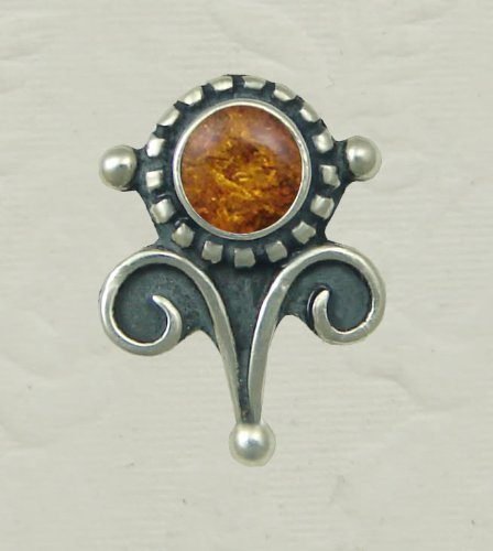 Amber Sterling Silver Victorian Stud Earrings When You Need Just a Little Bit of Color