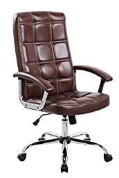 Anji Executive Big and Tall Thick Padded High Back Brown Leather Office Desk Chair with Adjustable Seat