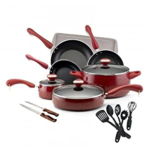 New Paula Deen 17-Piece Kitchen Porcelain Cookware Set Nonstick Pots Pans - Red
