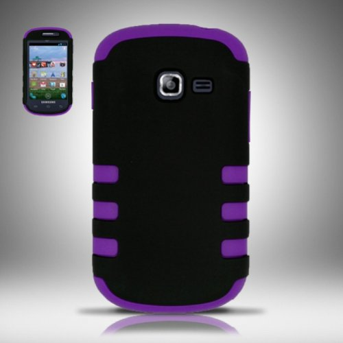 TRENDE - Samsung Galaxy Centura s738c / Samsung Galaxy Discover s730g Phone Case Black on Purple Tuff Armor Fusion Design Rugged Cover + Free Gift Box (Compatible Models: s738c, s730g, SCH-S738C, SCH-S730G)