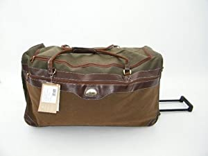 Large Leathersuede Look Wheeled Holdall In Tanolive With Locking Telescopic Trolley Handle Side Top Carry Handles