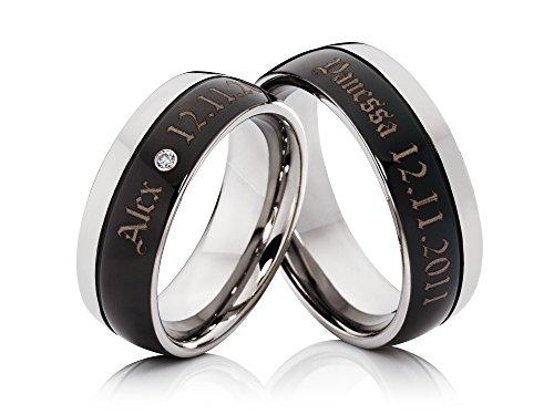 2-Ringe-Trauringe-Eheringe-Verlobungsringe-mit-Lasergravur-aus-Titan-mit-Zirkonia-inklusive-Gravur
