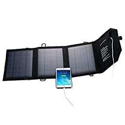 Ogima® 21W 2-Port USB Solar Charger PowerPort Solar-High efficiency Fast Charging Solar Panel Cell for iPhone 6/6 Plus, iPad Air 2/mini 3, Galaxy S6/S6 Edge and More