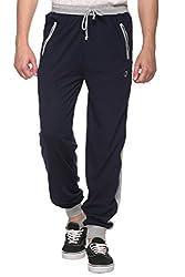 COLORS & BLENDS - Navy - Cotton Track Pants with Zipper cross-pocket - Size M