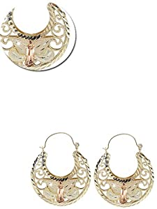 14k Yellow and Rose Gold, Classic Filigree Style Basket Design Virgin Guadalupe Dangling Hoop Earring