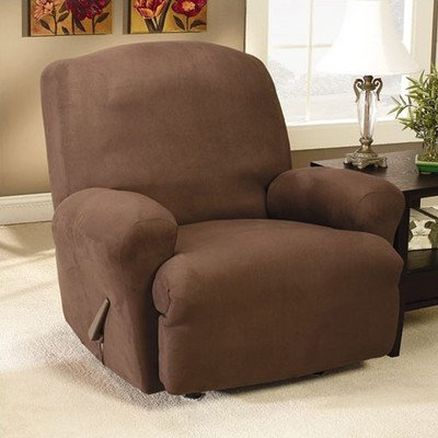 Sure Fit Stretch Suede Recliner Slipcover, Chocolate front-935620