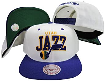 Utah Jazz White  Purple Two Tone Plastic Snapback Adjustable Snap Back Hat Cap by Mitchell & Ness