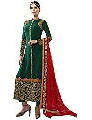 AnK Green Embroidered Attrective Designer Semi Stitched Salwar Suit With Dupatta