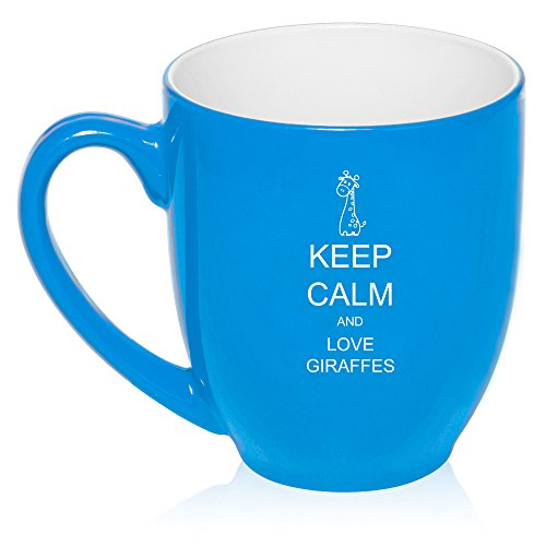 16 Oz Light Blue Large Bistro Mug Ceramic Coffee Tea Glass Cup Keep Calm And Love Giraffes