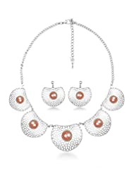 BIG Tree Orange Antique Silver Circular Necklace Set For Women.