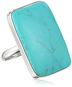 Sterling Silver Simulated Turquoise Rectangle Shaped Ring, Size 9