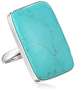 Sterling Silver Simulated Turquoise Rectangle Shaped Ring, Size 8